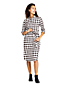 Women's Petite Check Ruffle Collar Dress