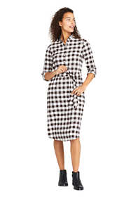 Women's Petite Long Sleeve Woven Print Ruffle Collar Shift Dress