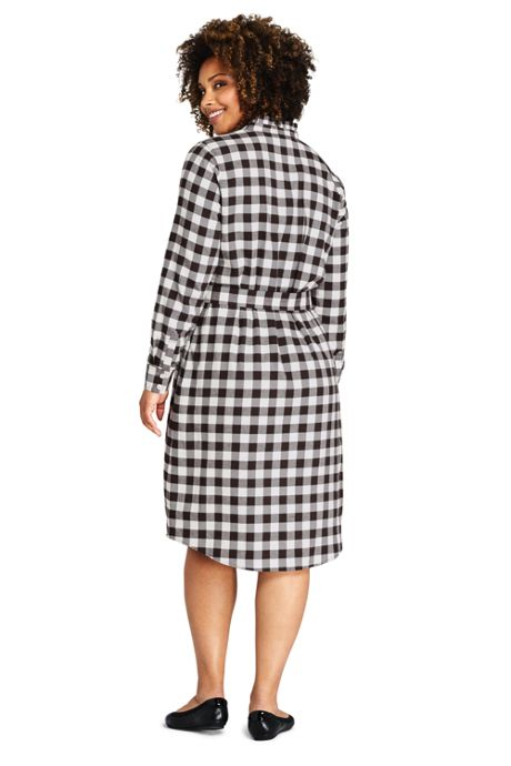 Women's Plus Size Long Sleeve Woven Print Ruffle Collar Shift Dress
