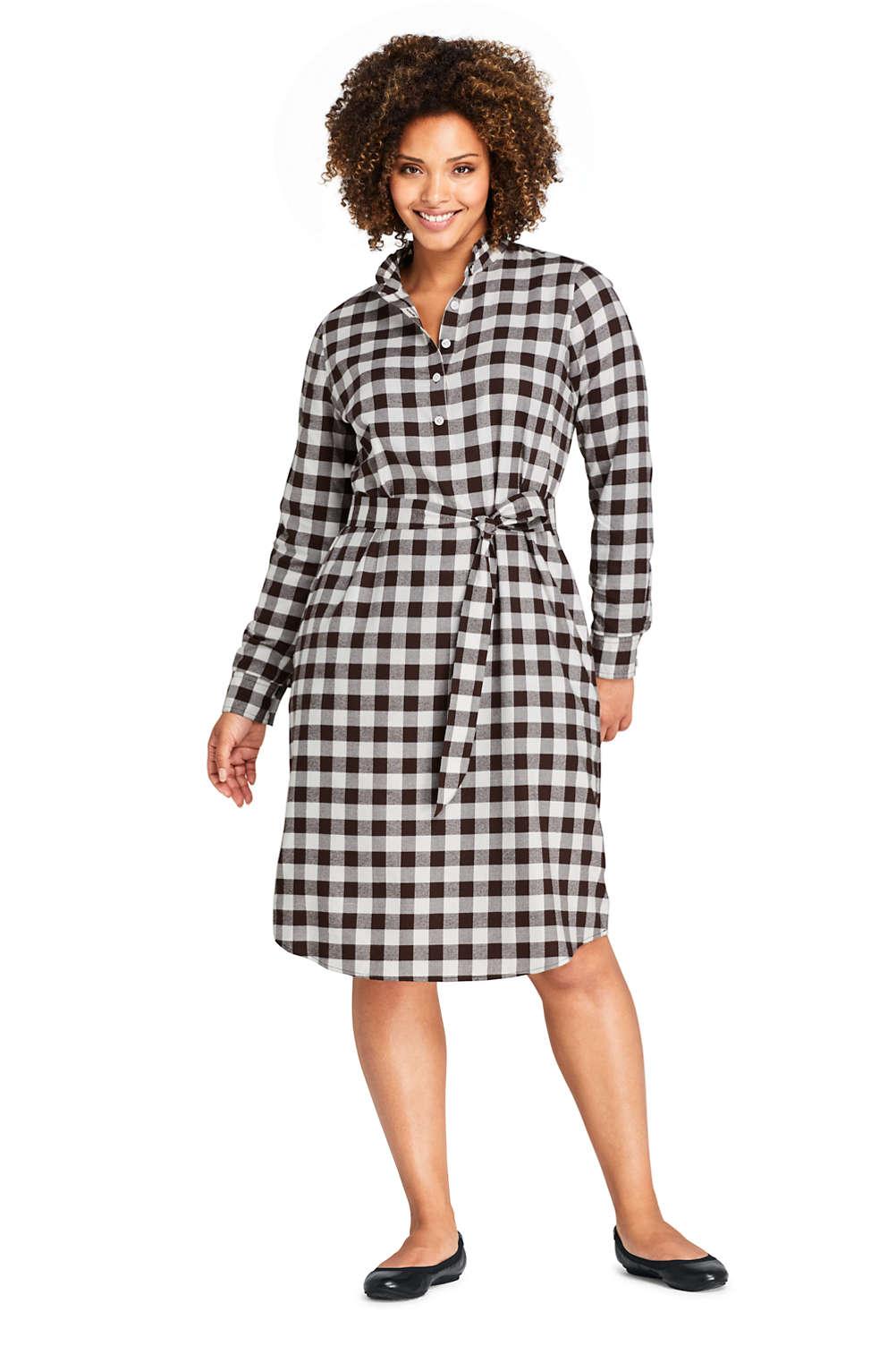 Women\'s Plus Size Long Sleeve Woven Print Ruffle Collar Shift Dress