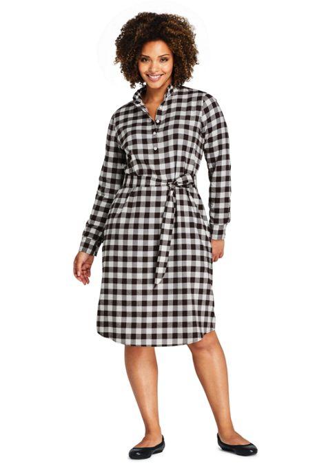 Women's Plus Size Long Sleeve Woven Print Ruffle Collar Shift Dress