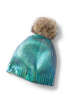 Kids' Metallic Printed Bobble Hat