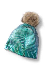 Kids Shiny Metallic Knitted Beanie Hat with Pom Pom