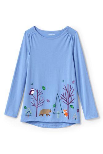 T-Shirt Long Graphique Épaules Froncées, Petite Fille