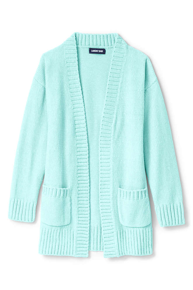 Girls Chenille Open Cardigan Sweater, Front