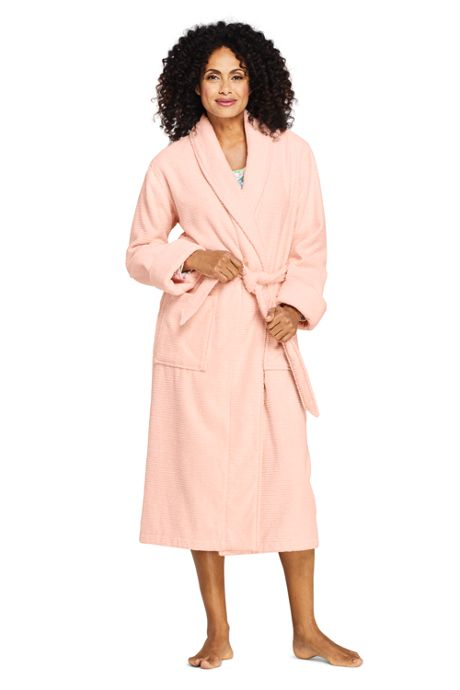 Women's Petite Cotton Terry Long Spa Bath Robe