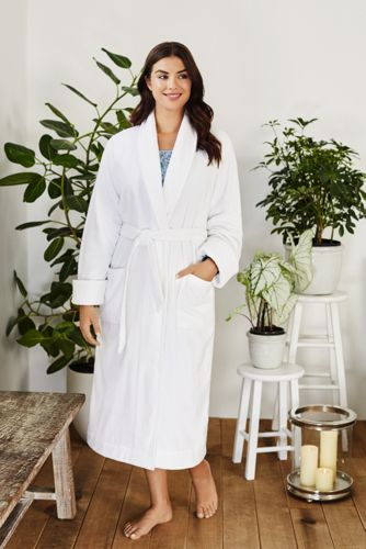 Women's Plus Size Cotton Terry Long Spa Bath Robe