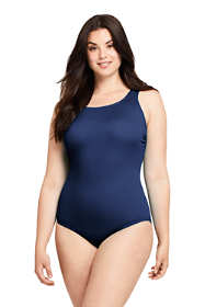 Women's Plus Size Tummy Control Chlorine Resistant Scoop Neck Soft Cup Tugless One Piece Swimsuit