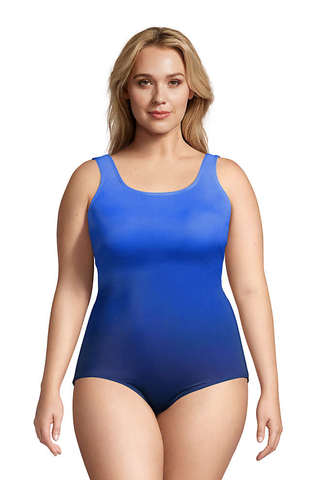 Women's Plus Size Long Chlorine Resistant Tugless One Piece Swimsuit Soft Cup, Front