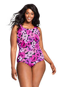 Women's Plus Size Chlorine Resistant Tugless One Piece Swimsuit Soft Cup