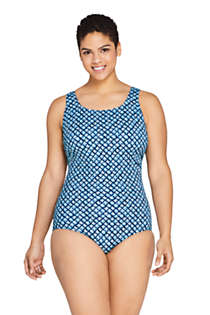 Women's Plus Size DDD-Cup Chlorine Resistant Tugless One Piece Swimsuit Soft Cup, Front