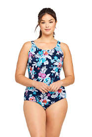 Women's Plus Size Long Chlorine Resistant Tugless One Piece Swimsuit Soft Cup