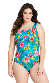 Women's Plus Size Mastectomy Chlorine Resistant Tugless One Piece Swimsuit Soft Cup