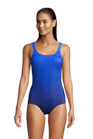 Women's D-Cup Chlorine Resistant Scoop Neck Soft Cup Tugless Sporty One Piece Swimsuit Print