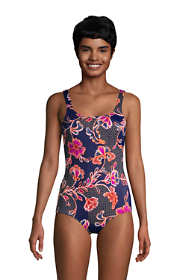 Women's Long Chlorine Resistant Scoop Neck Soft Cup Tugless Sporty One Piece Swimsuit Print