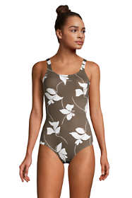 Women's Petite Chlorine Resistant Scoop Neck Soft Cup Tugless Sporty One Piece Swimsuit Print
