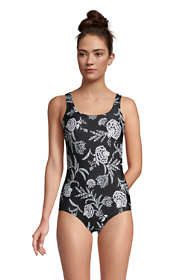 Women's DDD-Cup Chlorine Resistant Scoop Neck Soft Cup Tugless Sporty One Piece Swimsuit Print