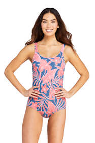 Women's DD-Cup Chlorine Resistant Scoop Neck Soft Cup Tugless Sporty One Piece Swimsuit Print