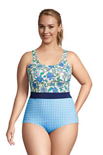 Women's Plus Size Long Chlorine Resistant Scoop Neck Soft Cup Tugless One Piece Swimsuit Print, Front