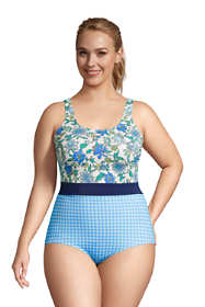 Women's Plus Size Long Chlorine Resistant Scoop Neck Soft Cup Tugless One Piece Swimsuit Print