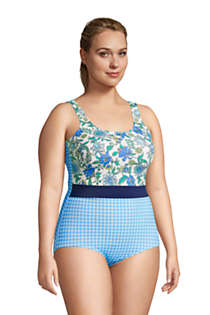 Women's Plus Size Long Chlorine Resistant Scoop Neck Soft Cup Tugless One Piece Swimsuit Print, alternative image