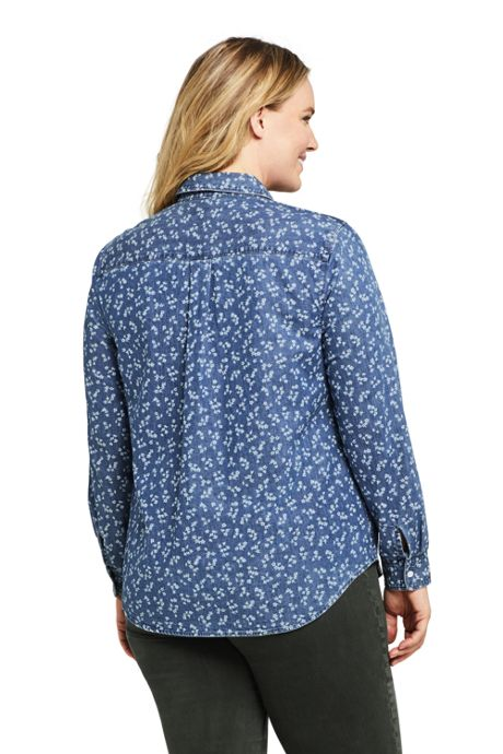 Women's Plus Size Denim Pattern Shirt