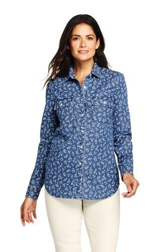 Women's Petite Stretch Denim Shirt, Indigo Floral