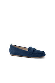 School Uniform Women's Wide Width Comfort Suede Leather Slip On Loafer Shoes