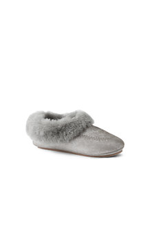 Women's Suede Slippers with Shearling Collar