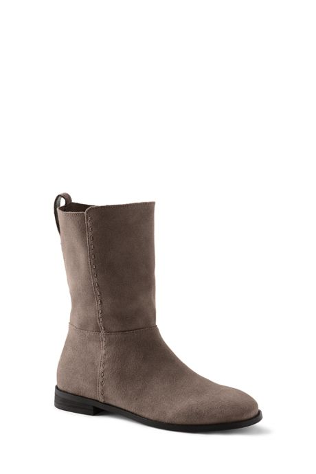 Women's Suede Leather Mid Calf Flat Boots