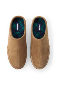 Men's Suede Leather Flannel Lined Clog Slippers