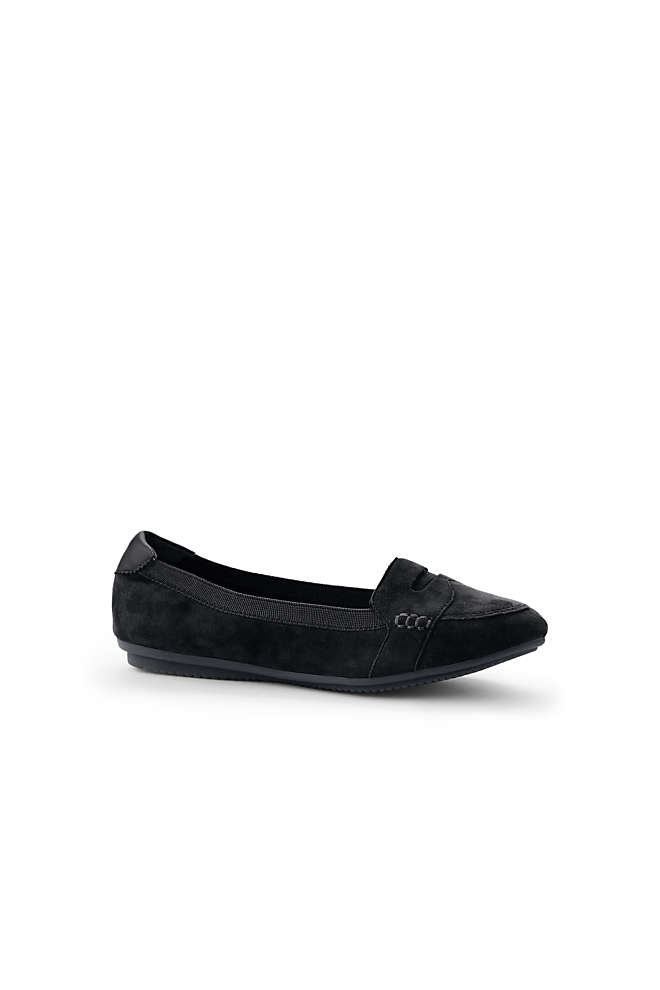 Women's Comfort Elastic Suede Leather Slip On Loafer Shoes, Front