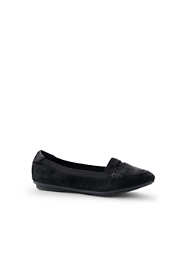 School Uniform Women's Comfort Elastic Suede Leather Slip On Loafer Shoes