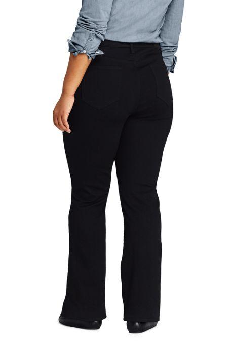 Women's Plus Size Mid Rise Boot Cut Jeans - Black