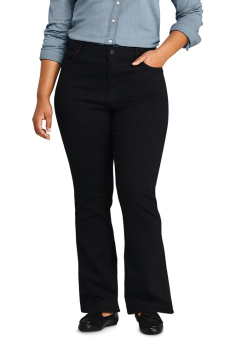 Women's Plus Size Mid Rise Boot Cut Jeans - Black