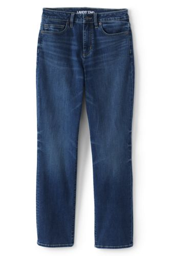 Women's Petite Curvy Mid Rise Straight Leg Jeans - Blue
