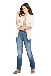 Women's Curvy Mid Rise Straight Leg Jeans - Blue , alternative image