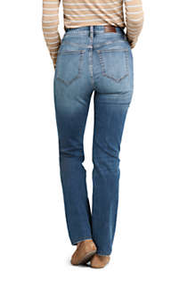 Women's Curvy Mid Rise Straight Leg Jeans - Blue , Back