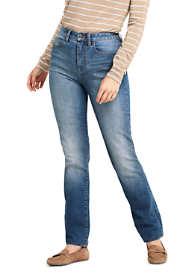 Women's Curvy Mid Rise Straight Leg Jeans - Blue