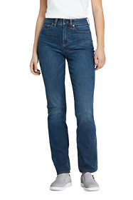 Women's Tall Curvy Mid Rise Straight Leg Jeans - Blue