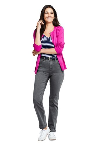 Women's Petite Curvy Mid Rise Straight Leg Jeans - Color
