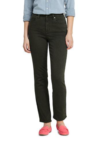 Jean Curvy Droit Taille Mi-Haute Teinté, Femme Stature Standard