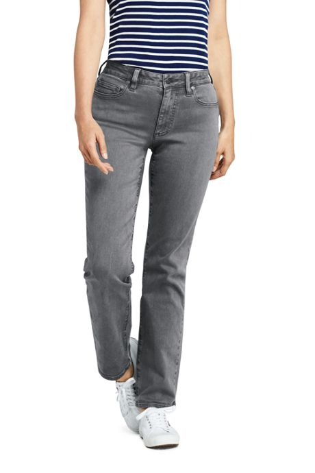 Women's Curvy Mid Rise Straight Leg Jeans - Color