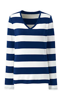 Women's Petite All Cotton Long Sleeve V-neck T-Shirt Stripe, Front