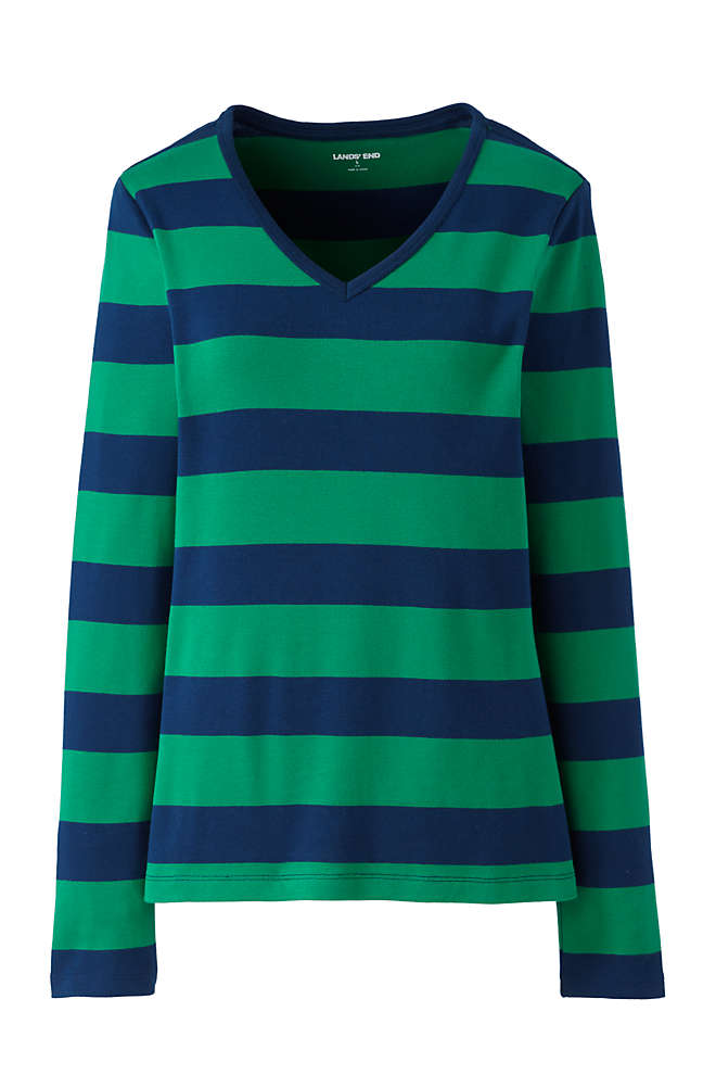 Women's Tall All Cotton Long Sleeve V-neck T-Shirt Stripe, Front