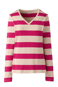 Women's Petite All Cotton Long Sleeve V-neck T-Shirt Stripe
