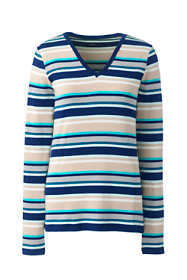 Women's Plus Size All Cotton Long Sleeve V-neck T-Shirt Stripe