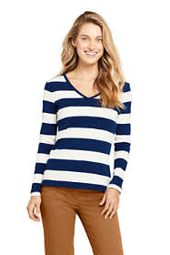 Women's All Cotton Long Sleeve V-neck T-Shirt Stripe