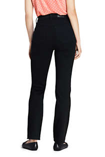 Women's Tall Curvy Mid Rise Straight Leg Jeans - Black , Back