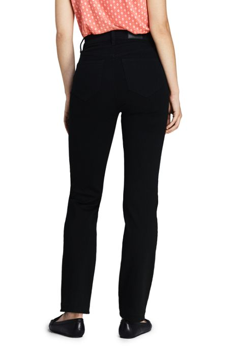 Women's Tall Curvy Mid Rise Straight Leg Jeans - Black